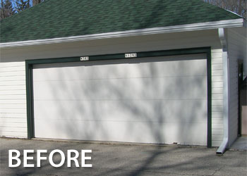 Before after geis garage doors milwaukee southeastern the home owners goal was to have the garage door blend in with the house siding solutioingenieria Images