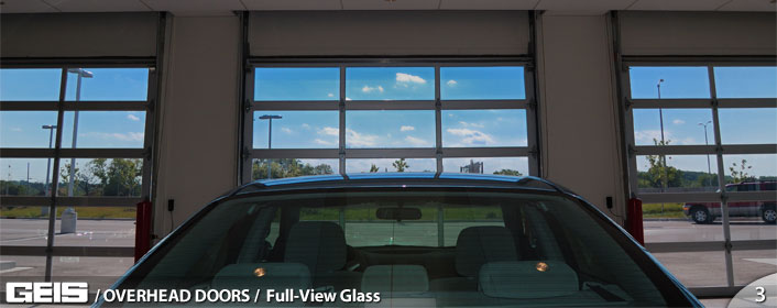 Commercial Overhead Full View Glass Garage Door from GEIS in Milwaukee